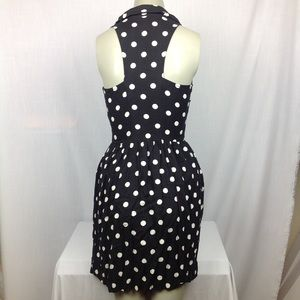 Rockabilly Polka Dot Collared Dress Button Up Sz S